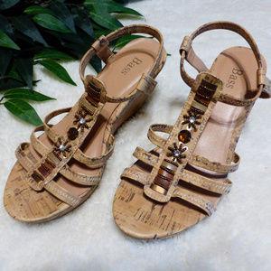 Bass - Embellished cork heel sandals